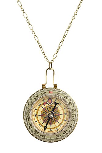 Vintage Premier Designs (Handmade Pendant Necklaces by Beautifly with a 16-inch Chain in Silver/Amber/Gold Color Unique Premier Designs Vintage, Modern or Classic Styles and High Quality (Functional Compass) by Beautifly)