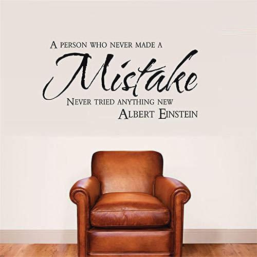 yiyiyaya Büro Aufkleber Motivation Zitate Wandaufkleber Albert Einstein Inspirierendes Zitat Person Made MistakeWandtattoosSchlafzimmer Dekorgrau 112x57cm -