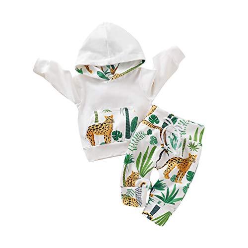 Edoton outfits suit neonato bambina manica lunghe cappuccio vestiti cappotto floreale top felpa & pantaloni due pezzi suit (0-3 mesi, bianco)