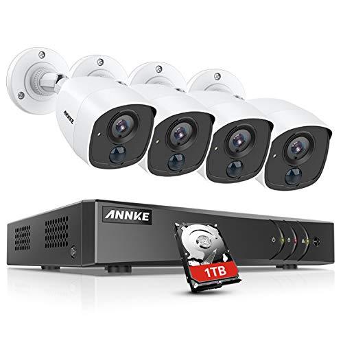 ANNKE 1080P Überwachungskamera System Set 4 x 1080P wetterfeste HD-Kamera und 4CH H.265+ 3MP DVR mit 1TB Festplatte 1080P Überwachungskamera Set PIR Bewegungsmelder,Weißlichtalarm,Fernzugriff Dvr-kamera-system