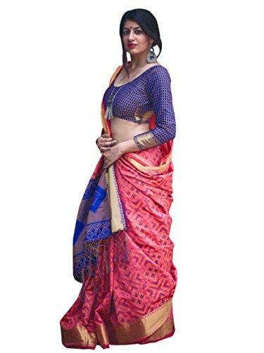 Vastrang Sarees Women's Patola Silk Traditional Sarees for Festive Season 2018_MB_LTS_8 (Gajri)