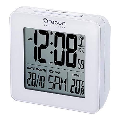 Oregon Scientific RM510 Orologio Radiocontrollato con Doppio Allarme Sveglia, Bianco