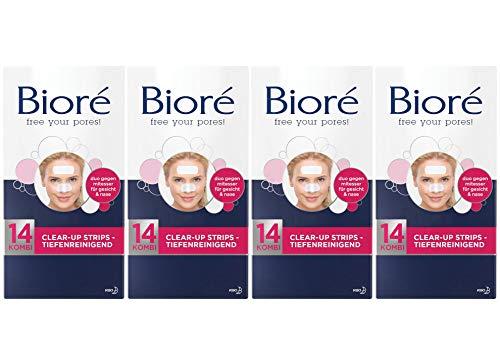 Biore CLEAR-UP STRIPS entfernen Mitesser Talg Schmutz - 4er Set = 56 Stück (28 Nase + 28 Gesicht)