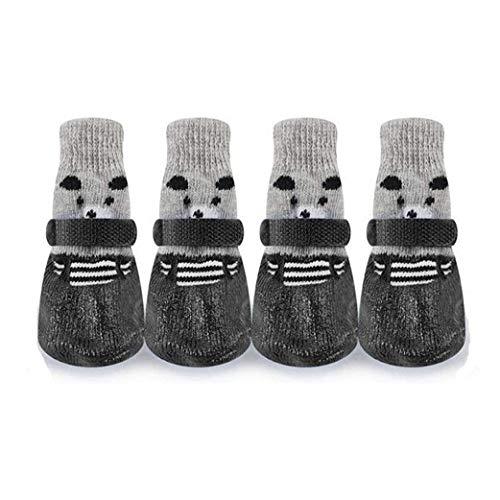 Wowangwang Hundeschuhe und Socken, EIN Satz von 4 Hundeschuhen, kleine Hundefüße, weiche Jahreszeiten, Plastikschuhe und Socken,Black,L