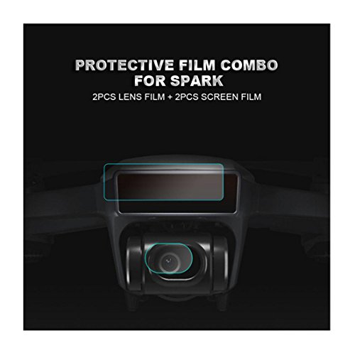 Omiky® 2X HD Fiberglas Film 3D Sensor Bildschirm & Kamera Objektiv Schutz für DJI Spark Drone
