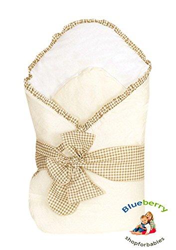 Blueberry ShopExclusiv Schöne Top-Qualität Baumwollsatin Kuscheldecke Wickeln Wickeltisch Decke Schlafsack für Neugeborene Baby Beige
