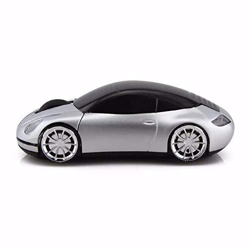 EHCNMSB 2,4 G Kreative Maus Porsche Modell Wireless Auto Maus männliche und Weibliche allgemeinen Charakter Maus, Silber (Wireless World-of-warcraft-maus)