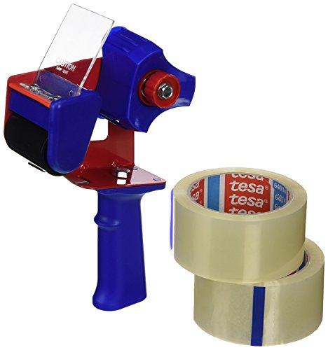 tesa Paketband-Abroller und tesapack Paketbänder im Set (2 x hochwertiges Packband inklusive 1 Abroller, Transparent, 66 m x 50 mm)