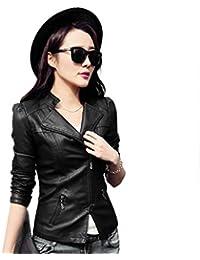 Chaqueta de Cuero de PU de Las Mujeres de Moda Estilo Dulce Color sólido Manga Larga Outwear de la Motocicleta Escudo con Cremallera Negro