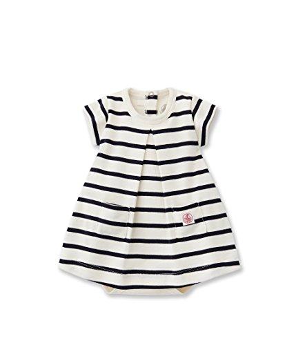 Petit Bateau Baby - Mädchen Body Robe Mc, Gestreift, Gr. 80 (Herstellergröße: 12M/74Cm), Mehrfarbig (Coquille/Abysse 50) (Gestreiften Robe Baumwolle)
