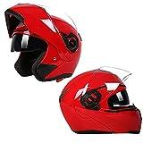YXDDG Motorradhelm Flip up dual visiere Full face Helm mit Abnehmbaren Winter Halstuch,Dual Visier Sonnenblende hochklappen.-Rot A 2XL