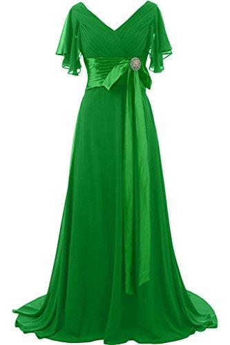 Ivydressing Damen Liebling Kurz Aermel V-Ausschnitt Lang Schleife Mit Steine Promkleid Festkleid Abendkleid Grün