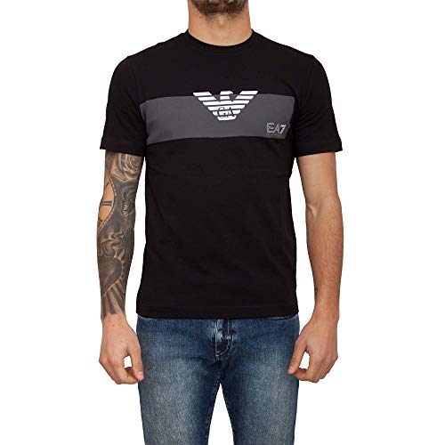 0c69c1acfa EA7 Emporio Armani 7 - T-Shirt Uomo Nero Logo Maglia Slim - Taglia S
