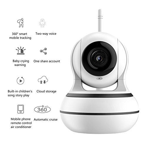 OMZBM Dome Kamera 360 ° Pan/95 ° Neigung Wireless IP Indoor-Sicherheit Überwachungssystem 960P HD, Auto-Cruise, Intelligente Fernbedienung Klimaanlage, Play Songs/Story,One -