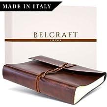 Belcraft Tivoli Album Fotografico in Pelle Riciclata, Realizzato a Mano in Stile Italiano, Scatola Regalo Inclusa, A4(23x 30cm) Marrone.
