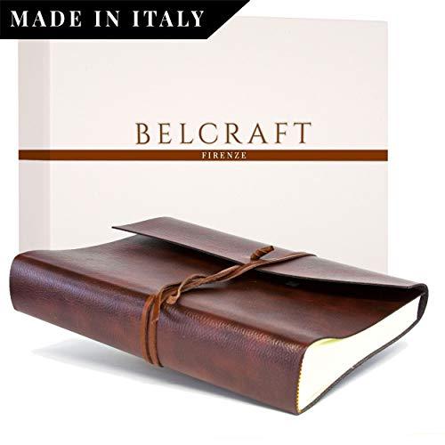 Tivoli Fotoalbum aus recyceltem Leder, Handgearbeitet in klassischem italienischem Stil, Geschenkschachtel inklusive, A4 (23x30 cm) Braun -