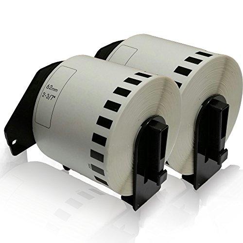 Preisvergleich Produktbild 2x kompatible Etiketten-Rollen für Brother DK-22205 62mm x 30,48m PTouch QL 560 VP PTouch QL 560 YX PTouch QL 570 PTouch QL 580 PTouch QL 580 N PTouch QL 650 TD PTouch QL 700 PTouch QL 710 W PTouch QL 720 NW Label 62mm x 30,48 m DK22205 Trägerspule