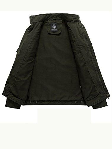 MatchLife Herren Stehkragen Jacket Reißverschluss Mnatel Style1-Armeegrün