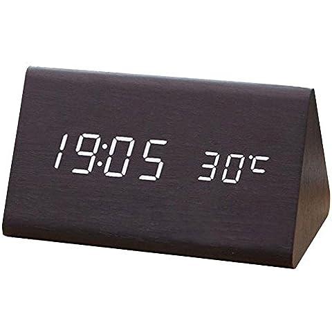 Highdas Decorativo Mesa Relojs Controlar Sensing Alarm Temp Dual Monitor Electrónico LED Reloj Vintage De madera Digital Alarm