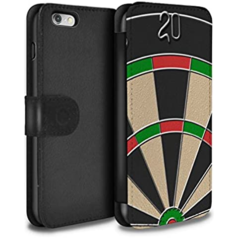 Stuff4 PU Cuero Funda/Carcasa/Folio/Cover en Para el Apple iPhone 6 / serie: Juegos - Dardos/triple