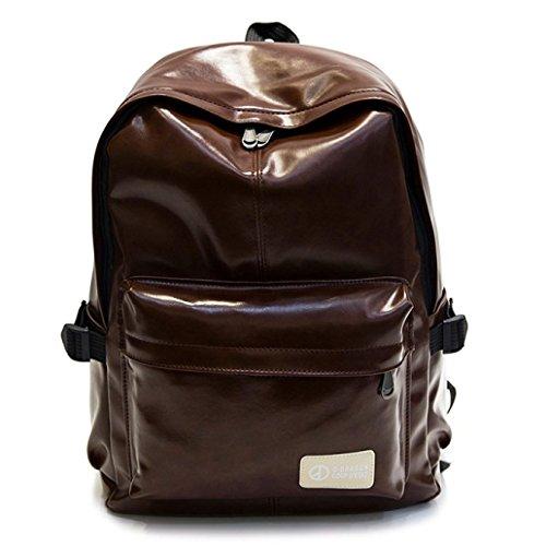 HAOXIAOZI Herren Leder Rucksack Casual Reisetasche Computer Tasche,DeepCoffee(small) (Elemente Computer-rucksack)