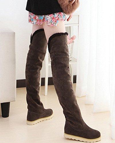 Über Schuhe Plattform Minetom Warm Winter Herbst Schneestiefel Kaffee Knie Lange Stiefel Mode Damen xvvw6PZRqY