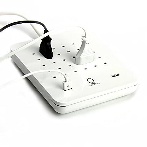 EGG Electronics – Multiprise BLANCHE – 15 prises AC - 2 USB 5V 2A – rallonge électrique – protection contre toute surintensité 8-10A – coques convertibles - Blanc