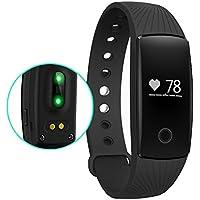 Amytech, tracker cardiofrequenzimetro con Bluetooth 4.0, conta i passi, le calorie e la distanza e monitora la qualità del sonno, funzione chiamata, sveglia e anti-smarrimento, compatibile con smartphone Android e iOS, Black