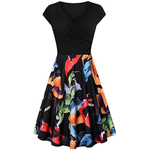 Damen Kurzarm V-Ausschnitt Kreuz Kleid Retro Elegant Big Rock A-Line Kleid Vintage Kleid Rock Kleiden Kleider(Schwarz1,S)