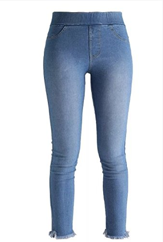 MECshopping jeggings elasticizzati sfrangiati alla caviglia donna leggings jeans Blu scuro