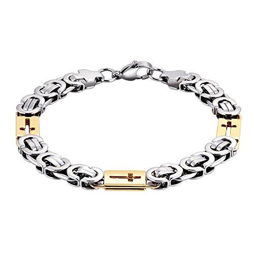 Gnzoe Edelstahl Herren Armband Byzantinischen Hohl Kreuz Silber Gold Link (Der Jack Karte Herzen Kostüm)