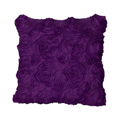 petsola Standard 3D Blatt/Rose Design Taille Dekokissen Fall Kissenbezug Sofa Dekor - Lila, 42x42cm -