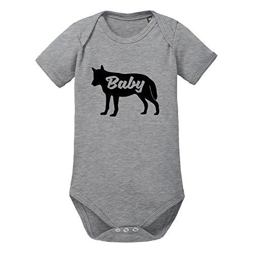 LittleBigFamily - Papa Mama Baby Wolf - Vater Mutter Kind - Shirts und Body für EIN Partnerlook Outfit - Baby Body Kurz Grau 13-24 ()