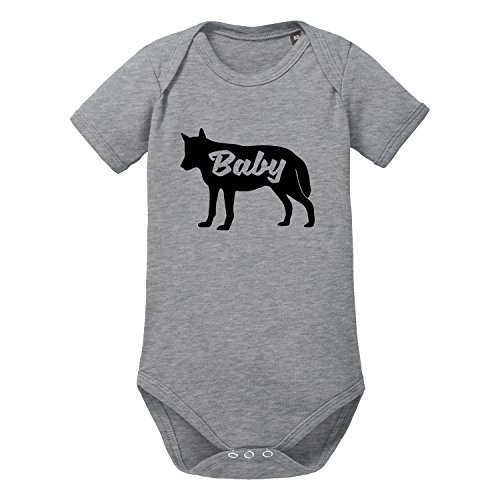 LittleBigFamily - Papa Mama Baby Wolf - Vater Mutter Kind - Shirts und Body für EIN Partnerlook Outfit - Baby Body Kurz Grau 00-02 Monate (Outfit Ideen Kinder)