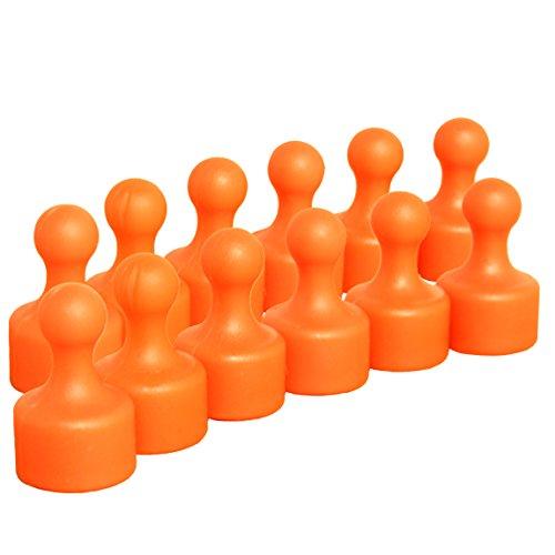 12 sehr starke orange Neodym Kegelmagnete Push Pins | Ø 12 mm | 19,5 mm hoch | superstarker 9x6 mm N35 Neodymkern | für Kühlschrank Pinnwand Magnettafel | geringerer Halt auf Glasmagnettafeln