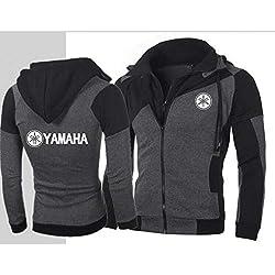 KGKYK Capuche Veste De Moto pour Hommes Yamaha Couleur Personnalité Double Cardigan À Capuche Sweat-Shirt Slim