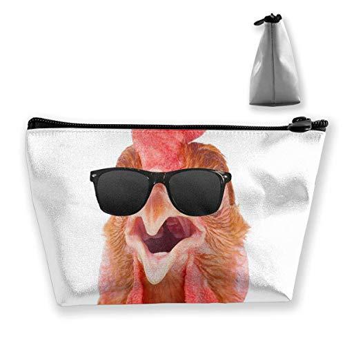 Kosmetiktasche für Frauen-Make-upbeutel-Geldbeutel-nette Reiseveranstalter-Beutel-Huhn-Sonnenbrille