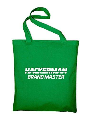 Hackerman Grandmaster Logo Divertente Sacchetto Di Juta Verde