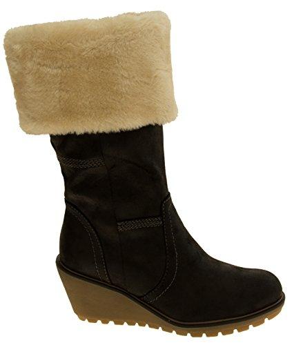 Faux stivali con zeppa in pelle di vitello delle donne S.oliver Nero