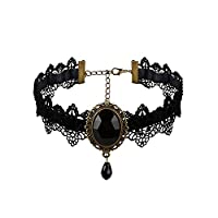 Front Row Black Velvet and Lace Choker with Black Stones