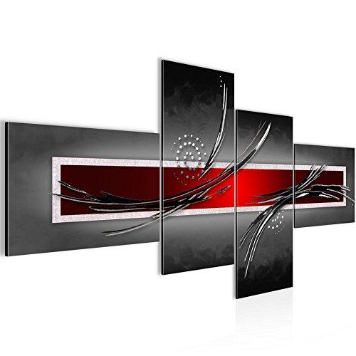 Bilder Abstrakt Wandbild 200 x 100 cm Vlies - Leinwand Bild XXL Format Wandbilder Wohnzimmer Wohnung Deko Kunstdrucke Rot Grau 4 Teilig - MADE IN GERMANY - Fertig zum Aufhängen 102541a