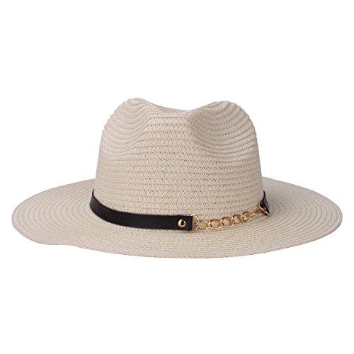 Floppy paja Sombrero de sol, Protección de papel plegable UV tejió unisex Beach sombreros de Sun con la correa de cuero de la PU (Beige)