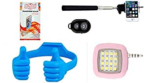 KONARRK 4 in 1 Combo of Selfie Stick Black, OK Stands Blue, Selfie Flash Pink and Tempered Glass for INFOCUS M530