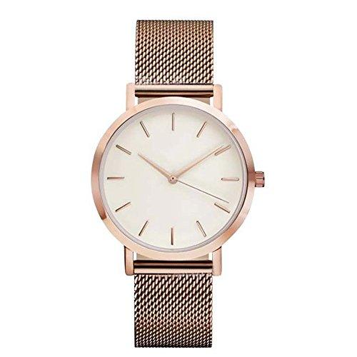gaddrt Uhren, Klassische Damen Herren Armbanduhr Stahlband Quarz Casual Uhren (Roségold)