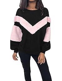 Sudadera de invierno para Mujer, LILICAT Camisa de Manga Larga de la Nueva Cachemira 2017 del Remiendo de la Moda, Cuello O Blusas…