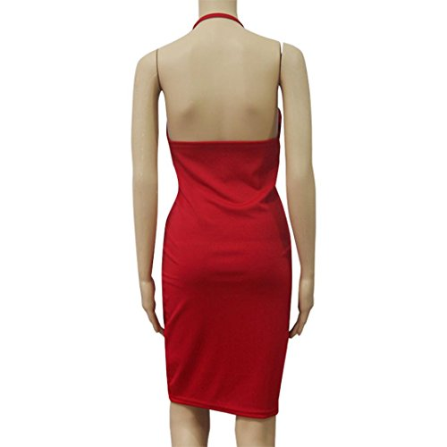 Femmes Robe, Oyedens Femmes D'éTé Profonde V Robe Sans Manches Robe SoiréE Rouge