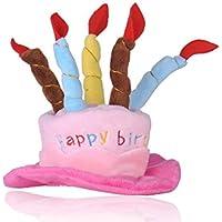 Act Gorro de Cumpleaños para Mascota con Diseño de Pastel y Velas para Mascotas, Ideal para Fiestas de Cumpleaños, para Disfrutar de una Hora Feliz (Talla única)