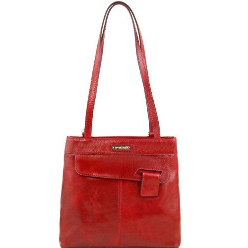 Tuscany Leather Martina - Borsa donna in pelle convertibile a zaino Marrone Zaini in pelle Rosso