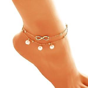 Qinlee Strand Fußkettchen Perle Fußkette Retro Böhmen FußSchmuck Multilayer Fußkette Damen Mädchen Lässig Schmuck Zubehör