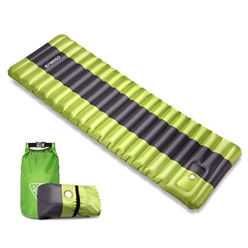 Enkeeo materassino da campeggio gonfiabile con spessore di 12cm, tappetino da spiaggia impermeabile leggero comodo ed ergonomico con borsa da trasporto, capacità di 200 kg, 200x 65cm, per le tende escursionismo, trekking, mare, piscina, e viaggio (verde)